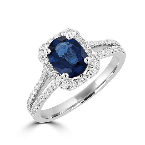 Two Row Oval Sapphire Halo