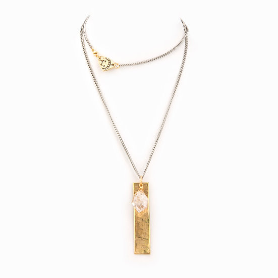 Layered Necklace with Gold Bar