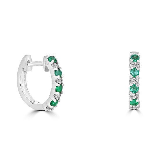 Round Emerald Huggie