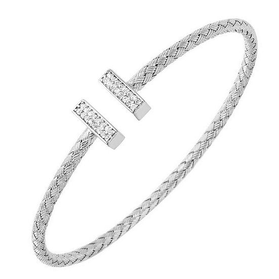 Silver Cable Bar Cuff