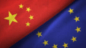 China and European Union two flags texti