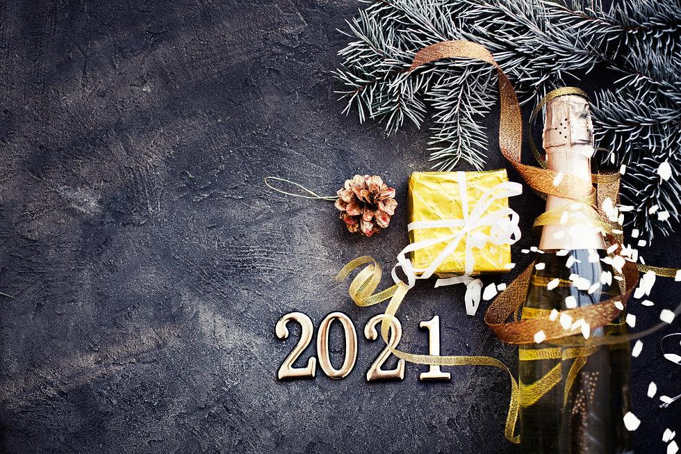 HAPPY NEW YEAR 2021 BACKGROUND OVER DARK