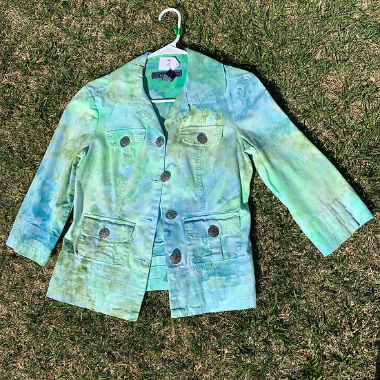 Blue Green watercolor spring jacket