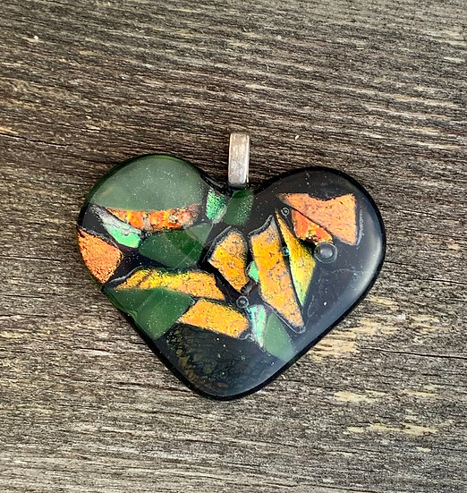 Black, green, yellow and orange dichroic heart pendant