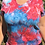 Thumbnail: Ladies Medium Red, White and Blue V neck TShirt, Ice Dyed