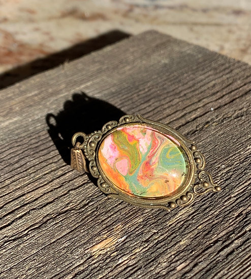 Oval Bronze Pink and Green painted pendant
