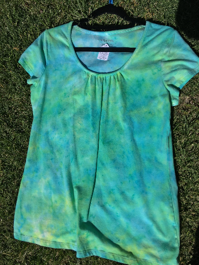 Rouched Blue/Green scoop-neck Tee
