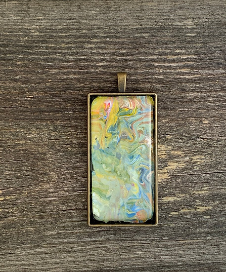 Painted rectangle glass pendant