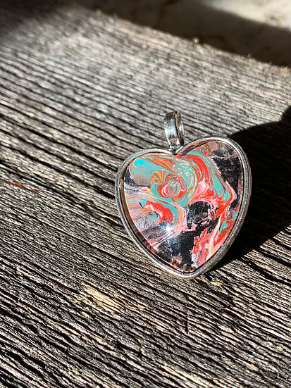 Turquoise, Black and Red painted pendant
