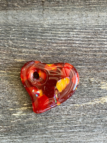 Red, orange and rust dichroic heart pendant