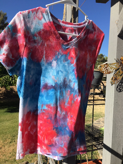 Ladies Medium Red, White and Blue V neck TShirt, Ice Dyed