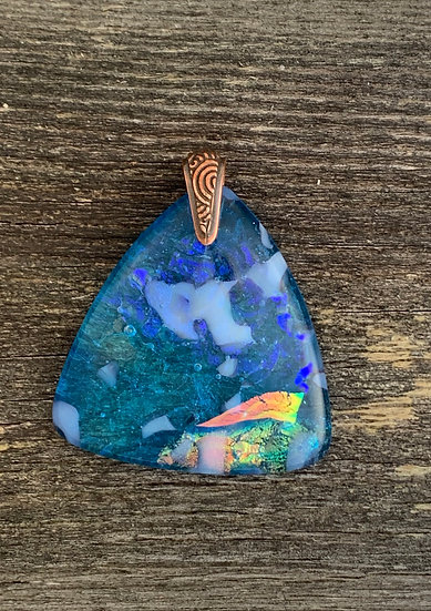 Aqua glass dichroic pendant