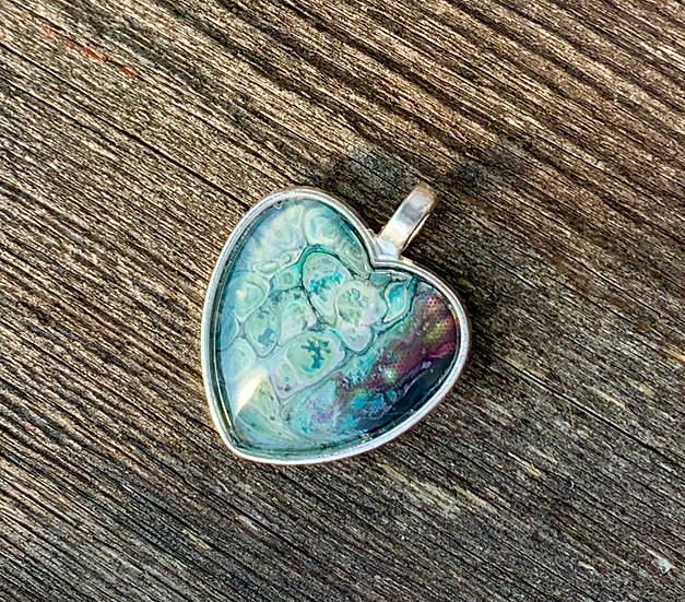 Turquoise painted pendant