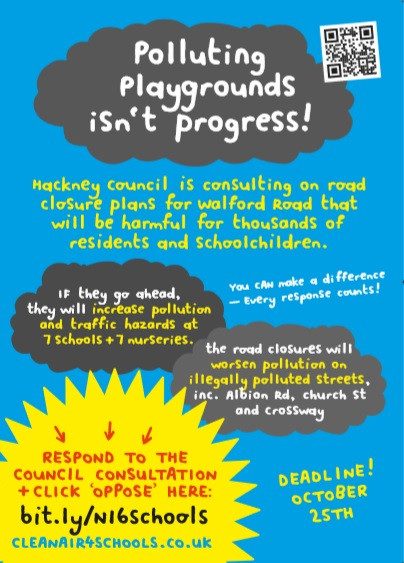 Walford Road closures will increase pollution at 7 schools and 7 nurseries