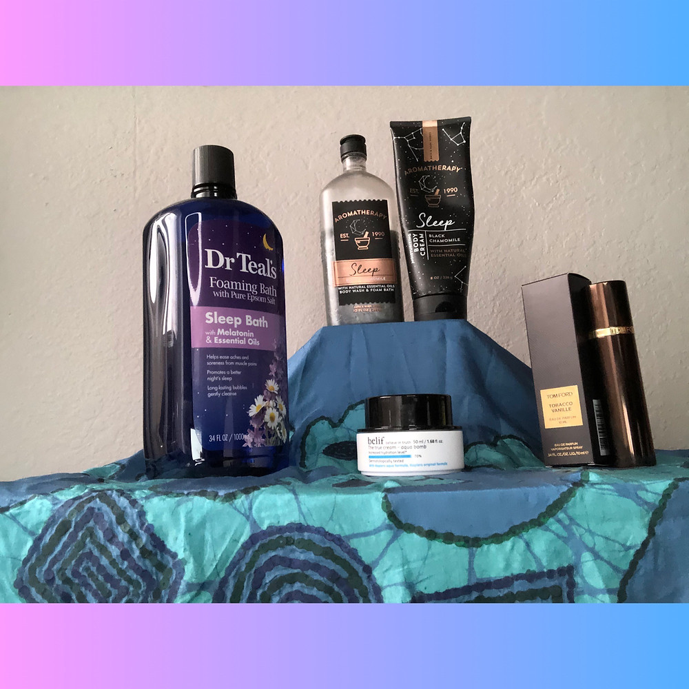 From top clockwise: BBW Black Chamomile Set, Tom Ford Tobacco Vanille, Belif Aqua Bomb, Dr. Teal's Sleep Bath