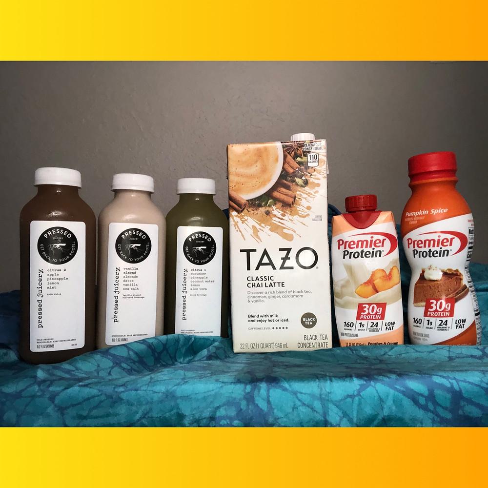 Pressed Juices, Tazo Chai Tea, Premier Protein