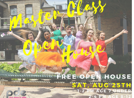 Free Dance Master Classes & Open House - Aug 25