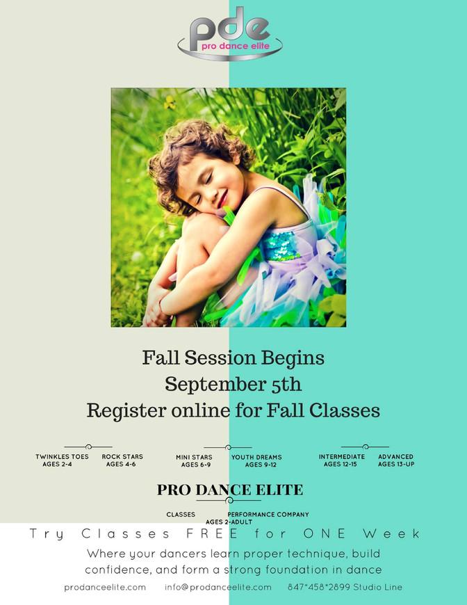 Fall Classes Start September 5th