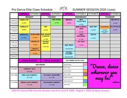 2020 Pro Dance Elite Summer Session Cale