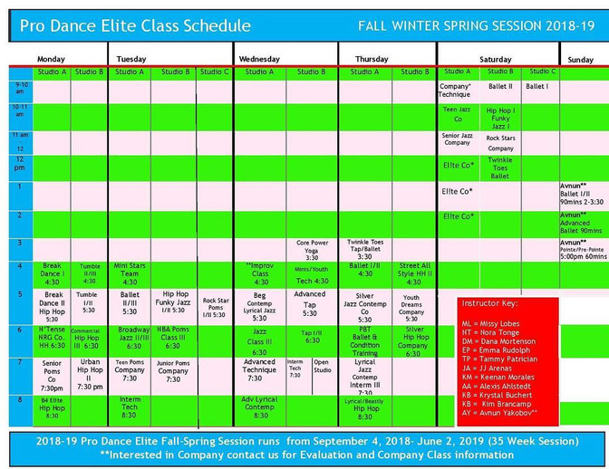 2018-19 Fall-Winter-Spring Schedule Launched!!!  Registration OPEN