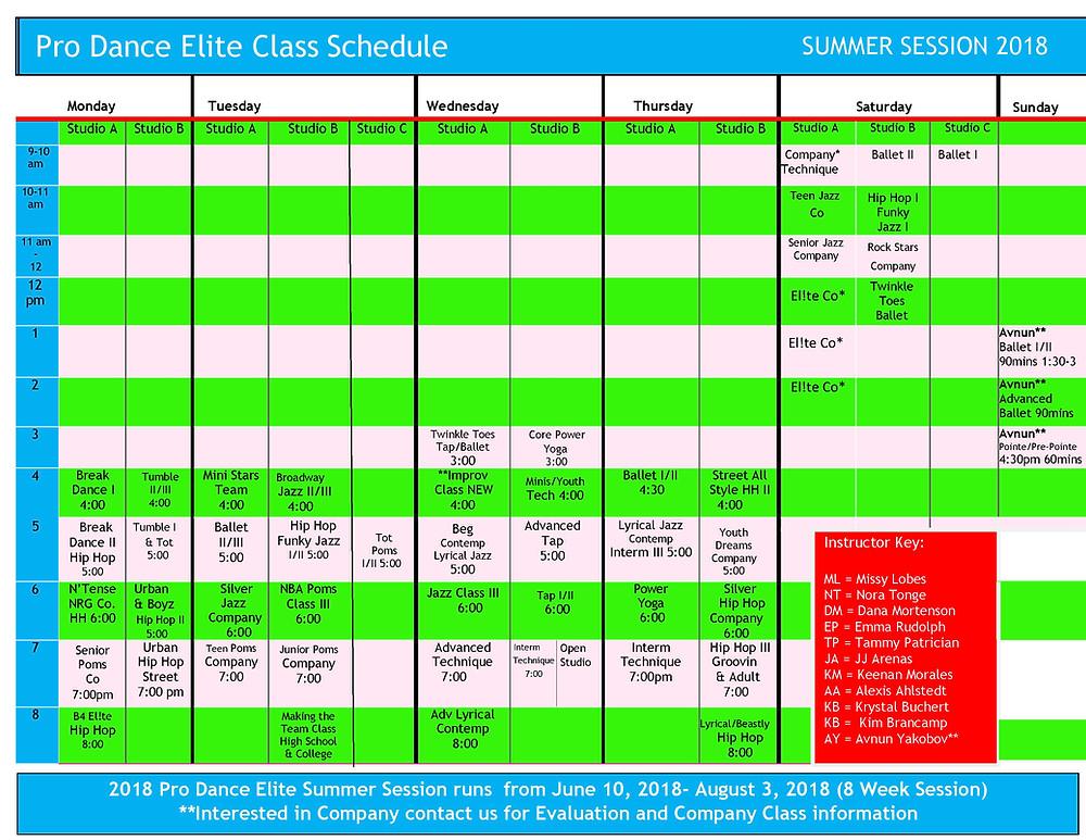 Handy Summer Class Calander