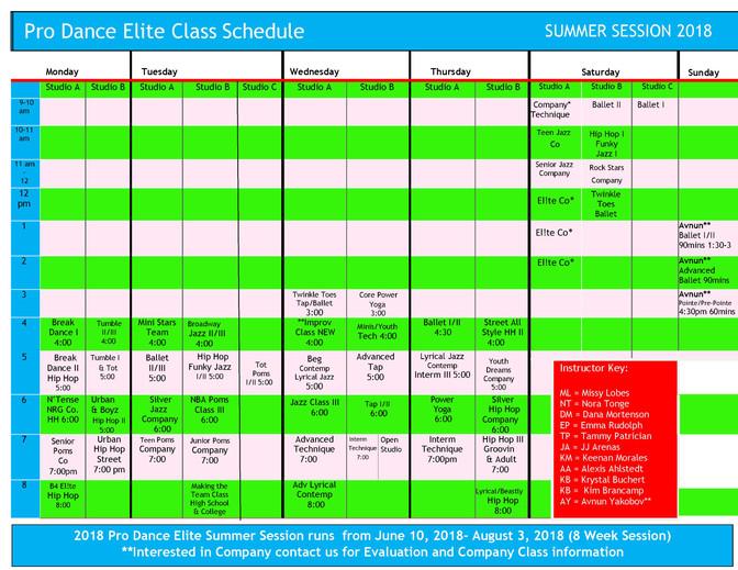 2018 Summer Class Schedule Released!!