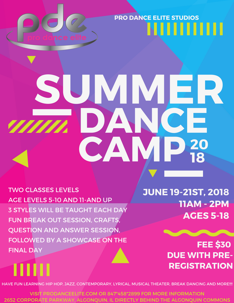 2018 pro dance elite summer dance camp