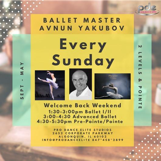 Avnun Yakubov Ballet Class Every Sunday