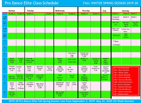 2019-2020 Pro Dance Elite Fall/Winter/Spring Schedule Released