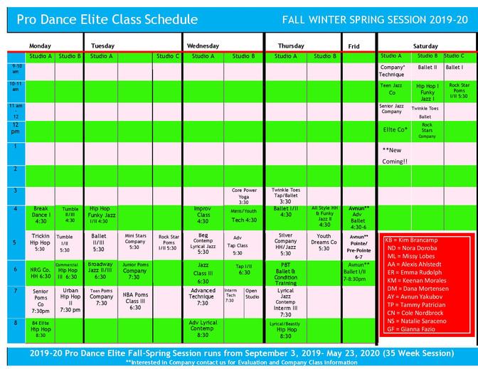 2019-2020 Pro Dance Elite Fall/Winter/Spring Schedule Released
