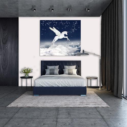 chambre a coucher tableau représentant une licorne dans un ciel étoilée