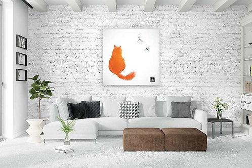 """Tableau """"Le chat et les libellules"""""""