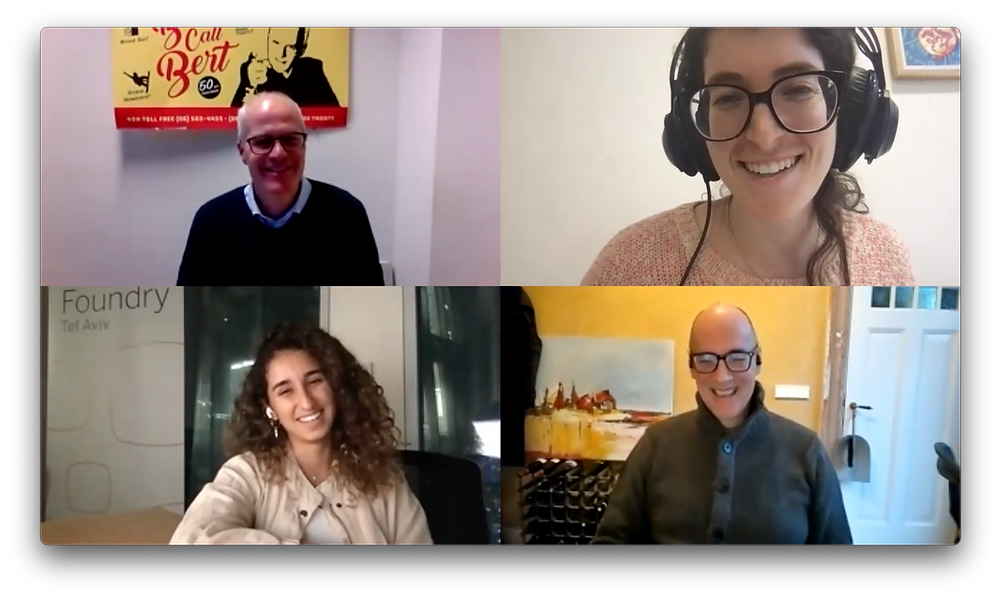 NET2GRID's CEO, Bert Lutje Berenbroek on the top left corner and NET2GRID's CCO, Berend Olde Rikkert on the top right corner. From SAPiO Foundry Tel Aviv Stephanie Horwitz at the top right corner and Inbar Yacoby bottom left corner.