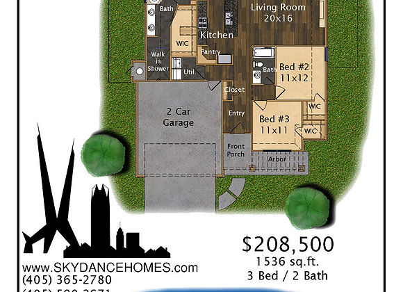 3 Bed 2 Bath 1,536 sq.ft.