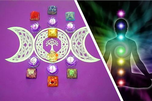 Aplicação de Reiki + Terapia com orgonites, pedras e cristais