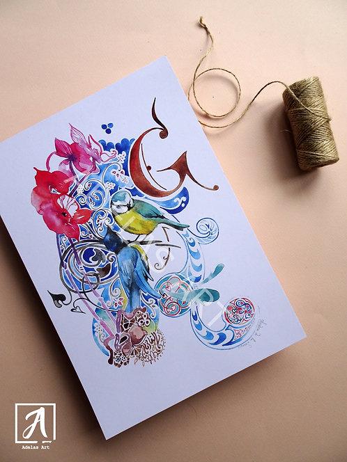 Blue Birds - Floral