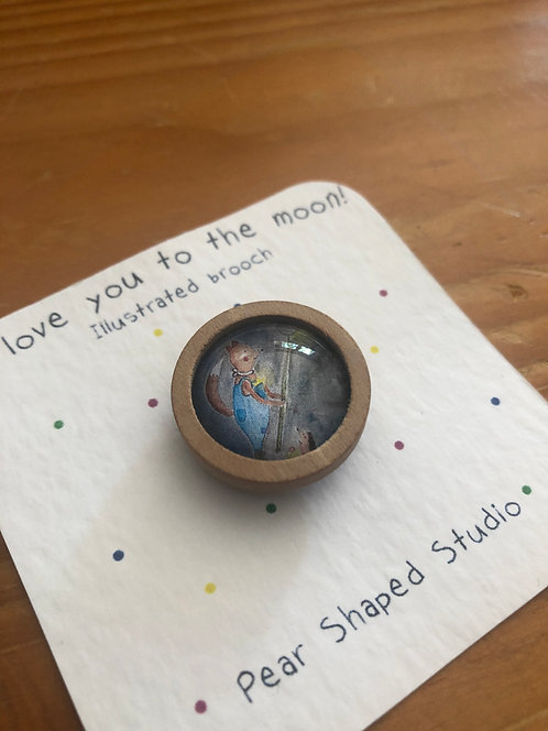 I Love You To The Moon - Wooden Brooch
