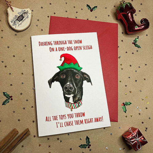 'Dashing Through the Snow'Dog Card - Dogs Trust Charity Card