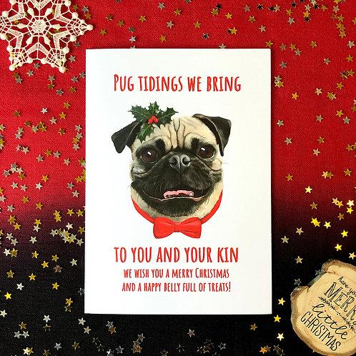 'Pug Tidings We Bring' Dog Card