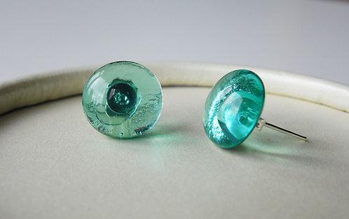 Stud Earring & Necklace Set - Light Blue (Clear)