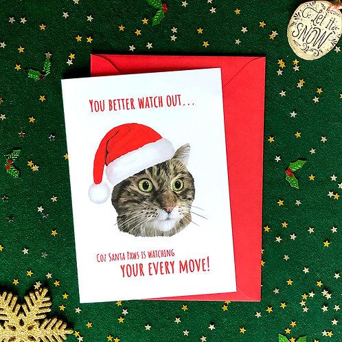 'Santa Paws' Cat Card