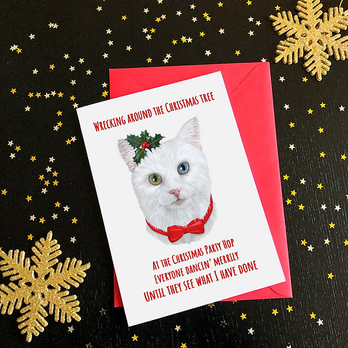 'Wrecking Around The Christmas Tree' Cat Card