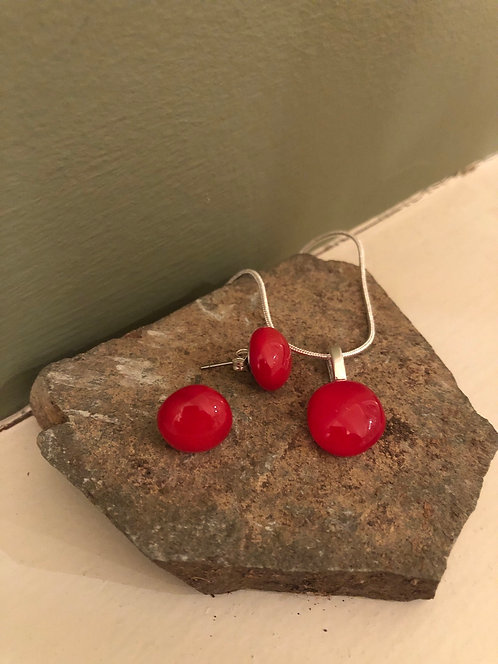 Red Glass Stud Earrings and Pendant