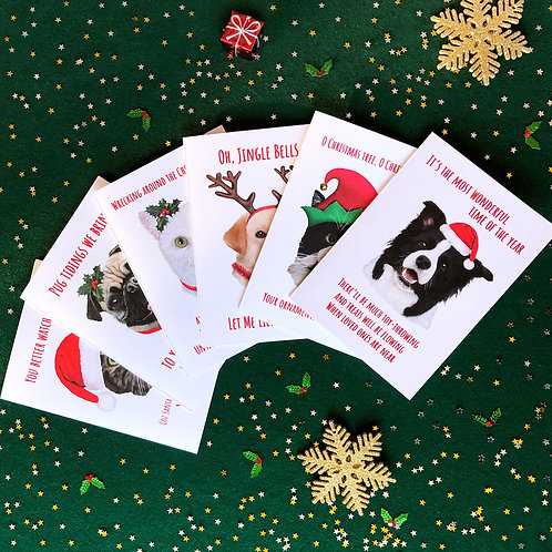 Cat/Dog Christmas Cards - 3 for €12
