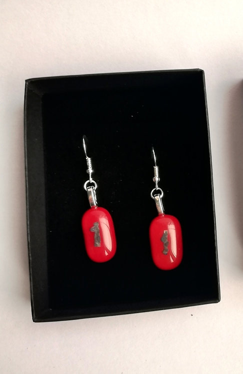Red Glass/Metal Earrings