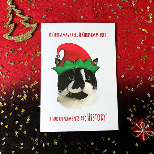 'O Christmas Tree' Cat Card