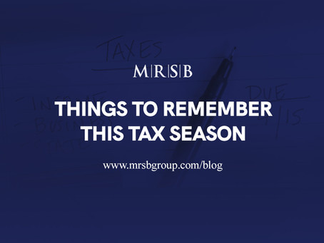 Things to Remember This Tax Season