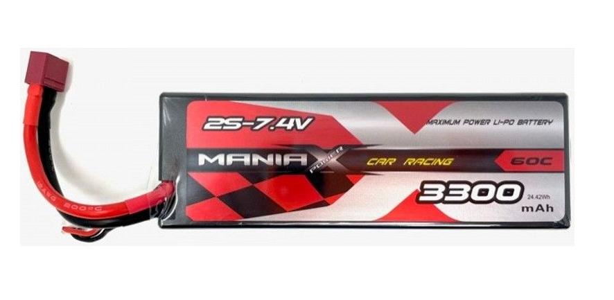 ManiaX 7.4V 3300mah 60C Car Lipo Pack : MX3300-2S-60C