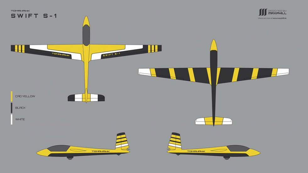 Swift S-1 carbon 3,33 m full composite , painted yellow/black