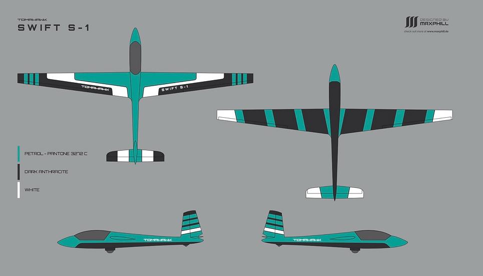 Tomahawk Swift S-1 carbon 3.33 m full composite, painted petrol/white/black